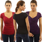 New Womens Sexy Casual Short Sleeve V-Neck Shirt T-shirt Slim Fit Tee Top Blouse