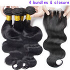 4 Bundles Brazilian Body Wave Virgin Human weft 200g& 3 Part Lace Silk Closure