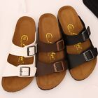 BN Womens Summer Casual Buckle Straps Flip Flop Clog Cork Sandals Footbed Shoes