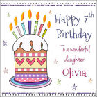 Girls Quality Personalised BIRTHDAY CARD ~ CAKE CANDLES, ANY NAME AGE RELATION