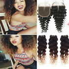 3 Bundles Brazilian Deep Curly Wave Human Hair ombre Weft & 1pc Lace Closure