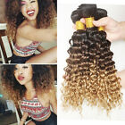 "14-28"" Brazilian Curly Virgin Hair Bundles Kinky Ombre Three Tone Extension 50g"