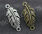 30/150pcs Tibetan Silver Exquisite Banana Leaf Jewelry Charm Connector 35x14mm