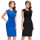 Vintage 1950's Style Sleeveless See-Through Splicing Bodycon Pencil Dress Party