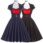 Polka Dot Belt Swing 1950s Satin Retro Vintage Party Dress Formal Swing Evening