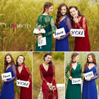 Women's Long Lace Sleeve V-neck Evening Party Bridesmaid Formal Prom Dress 08692