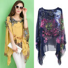 Womens Loose Casual Batwing Sexy Chiffion Shirt Blouse Ladies Oversize Tee Tops