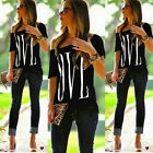 Summer Women's Fashion Loose Casual Short Sleeve Black Tops T-Shirt Love Blouse