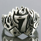 Dice Flame Lucky Number No.7 Seven Freemason Mason Master Stainless Steel Ring