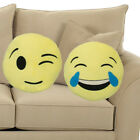 Soft Plush Emoji Pillow Wink Or Tears Emoticon Cushion Toy Round Yellow Smiley
