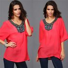Women's Fashion Embroidery Short Sleeve Casual Loose T-Shirts  Blouses Tops S