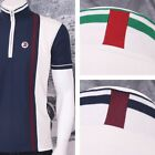 Trojan Records Retro Mod 60's Vertical Stripe Zip Thru Tipped Cycling Top (3 Col