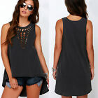 Plus Size Womens Loose Vest Top Sleeveless Blouse Casual Hollow Tank Top T-Shirt
