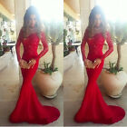 Women Lace Crochet  Slash Neck Red Evening Party Wedding Cocktail  Long Dress