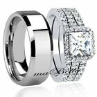 Hot 4 Pcs Hers 925 Sterling Silver His Tungsten Engagement Wedding Ring Band Set