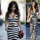 Fashion Women Sexy Bodycon Sleeveless Boho Strip Maxi Evening Club Long Dress