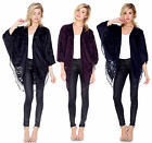 USA FASHION WOMENS FRINGE BATWING DOLMAN KIMONO TUNIC BLOUSE SHIRT CARDIGAN S-L