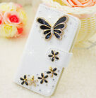 Bling Crystal Diamonds Bow PU leather flip slots stand wallet cover case skin #A
