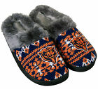 Chicago Bears NFL Woman's Faux Fur Aztec Slide Slippers Shoes Embroidered Logo