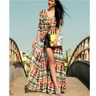 Womens Fashion Tie-Dye Printing Boho Cardigan Long Sleeve Chiffon Shirt Dress S