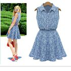 Women Fashion Shirt Collar Sleeveless Pleated Floral Print Denim Dresses Skirt S