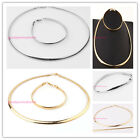 """New Fashion Women Silver/Gold Stainless Steel 6mm 20"""" Necklace & 9"""" Bracelet Set"""