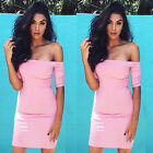 Women Sexy Off-Shoulder Bandage Slim Bodycon Evening Party Cocktail Mini Dress