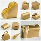 Pack 10 Luxury DIY Christmas Anniversary Party Favour Gift Boxes Matt GOLD SILK