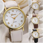 Classics Geneva Men Women Dial Roman Numerals Leather Analog Quartz Wrist Watch