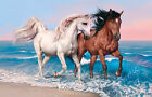Ocean Horses canvas Picture, Original or WITH GLITTER - DIAMOND DUST! Wall art.