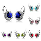 Women Multi-color Crystal Oval Ear Stud Rhinestone Hoop Earrings Clip