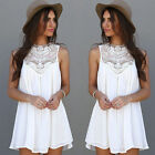 Fashion Women Sexy Summer Casual Sleeveless Evening Party Short Mini Dress White