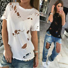 Sexy Women Ladies Casual Loose V Neck Short Sleeve Top Blouse Tee Shirt UK 6-16