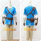 The Legend of Zelda Breath of the Wild Link Cosplay Costume blue