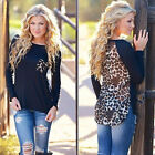 Plus Size Casual Women Top Long Sleeve Blouse Ladies Tops T-Shirt Leopard Tee