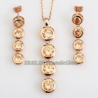 A1-S001 Fashion CZ Simulated Gemstone Necklace Earring Jewelry Set 18KGP Crystal