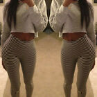Women Slim Skinny Sexy Leggings Striped Stretch Jeggings Trousers Pencil Pants