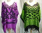 poncho tunic top caftan boho Celtic tribal blouse beach cover 16 18 20 22 24 26