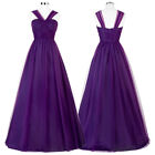 GK V-Neck Soft Tulle Bridesmaid Ball Gown Evening Prom Party Dress Long Wedding