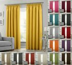 Luxury Faux Silk Fully Lined Taped Curtains Pencil Pleated FREE Tie Backs