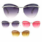 SA106 Womens Flat Top Eyebrow Rimless Designer Fashion Butterfly Sunglasses