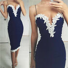Womens Navy Bodycon Strappy V Neck Floral Lace Evening Party Ladies Midi Dress N
