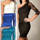 Women's Sexy One-Shoulder Gowns Fit Mini Slim Lace Dress Cocktail Casual Party