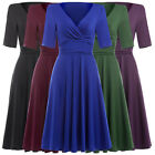 Formal Retro Vintage Casual 5 Colors Short Sleeve Party Dress Evening Swing Mini