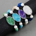 1 Strand Oval Rainbow Agate Druzy Bracelet With 10mm Mix Stone Beads QG0754