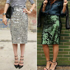 New Fashion Women High Waist  Slim Sheer Sequins Knee-Length Holiday Party Skirt