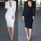 Womens Bodycon Cocktail Bandage Dress Long Sleeve Ladies Party Evening Dress