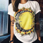 Summer New Womens Loose Casual Short Sleeve Cotton T-Shirt Blouse Ladies Tee Top