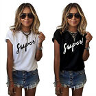 Womens Casual Letter Printed Short Sleeved T Shirt Short Sleeve Blouse Top