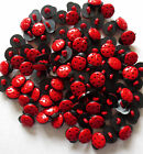 RED AND BLACK LADYBIRD BUTTONS - CRAFT LADYBUG APPROX 15MM - QTY 10, 20 or 50
